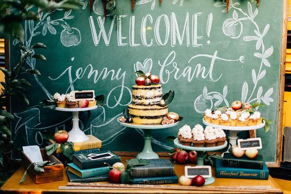 Chalkboard and books dessert table