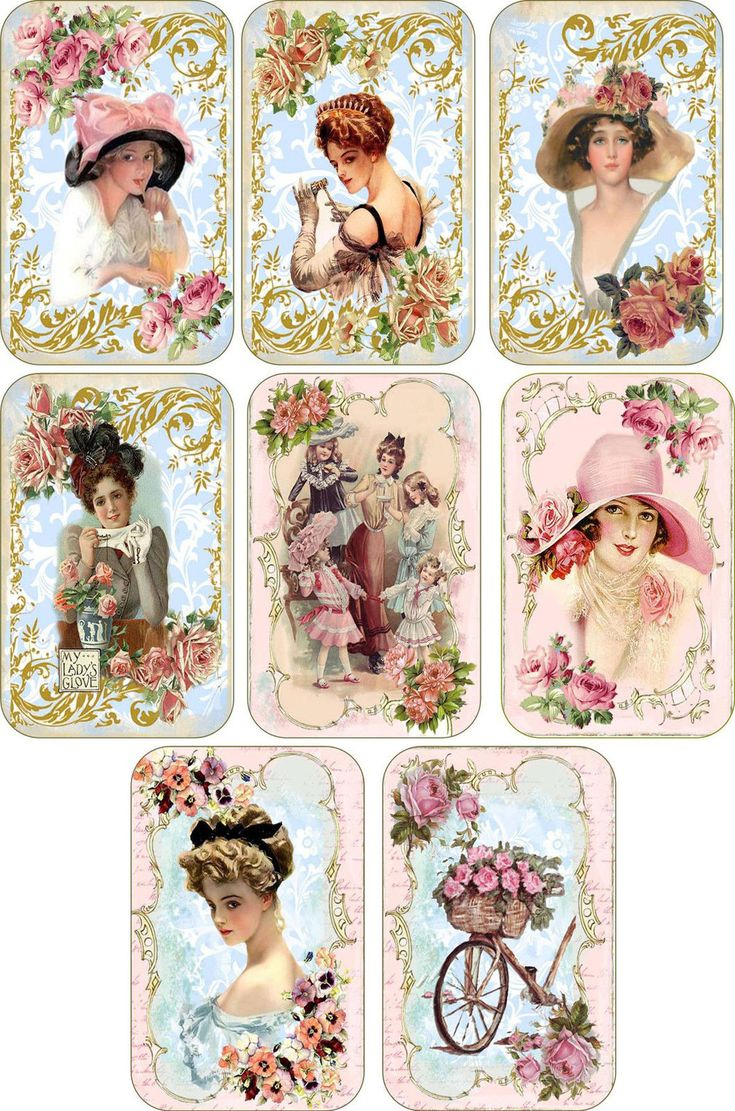 Vintage Victorian Ladies with Hats Tags Scrapbooking Crafts Tags Set 8 w Ribbons | eBay