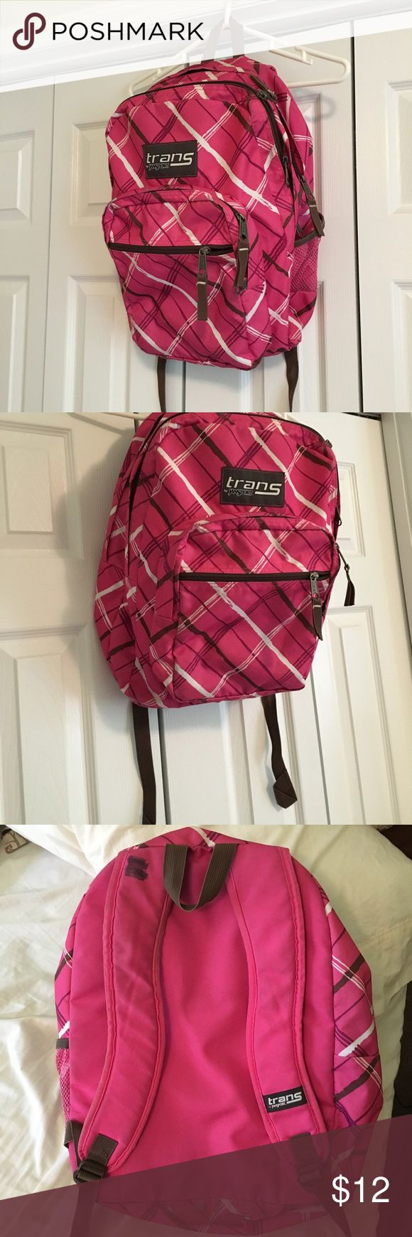 Pink Jansport Bookbag This bookbag has been pre-loved but has no holes/damage/stains besides the name that has been marked out! This print is no longer sold in stores or websites 💕 a GREAT bookbag that can hold just about anything Jansport Bags Backpacks