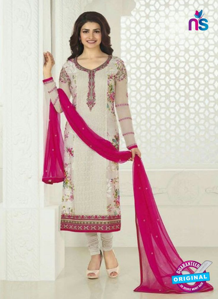3751 Beige and Pink Embroidered Georgette Party Wear Straight Suit