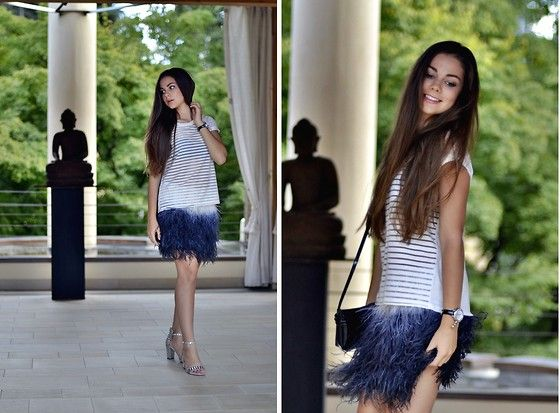 Feather skirt from Zara, HM transparent white top, night outfit, fashion blogger