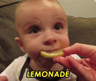 Baby hates lemonade GIF