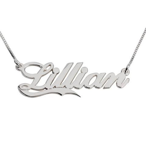 Personalized Sterling Silver Alegro with Line Name Necklace