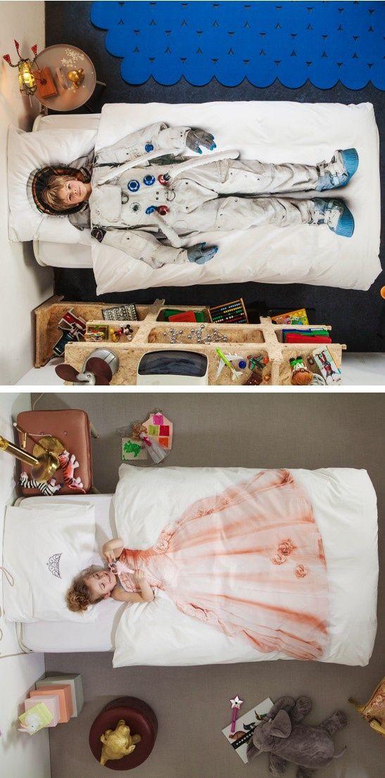Stoer astronautendekbed voor je zoon en een prachtig prinsessendekbed voor je dochter | mommo-design.blogspot.it