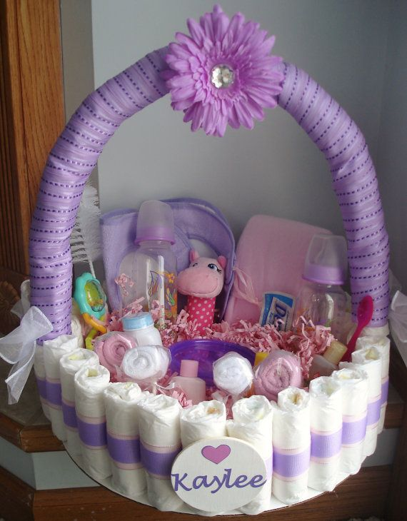 purple and pink diaper basket by