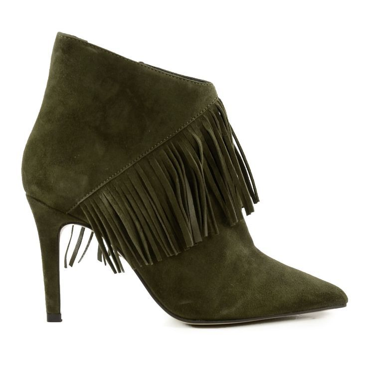 forest green suede fringe booties