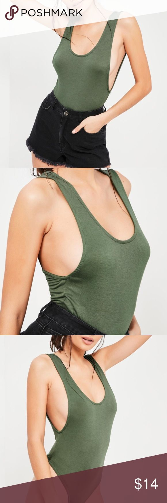 Missguided Khaki Scoop Back Bodysuit Like NEW! Khaki scoop back bodysuit from Missguided. Only worn once. Snap button closure. Missguided Tops