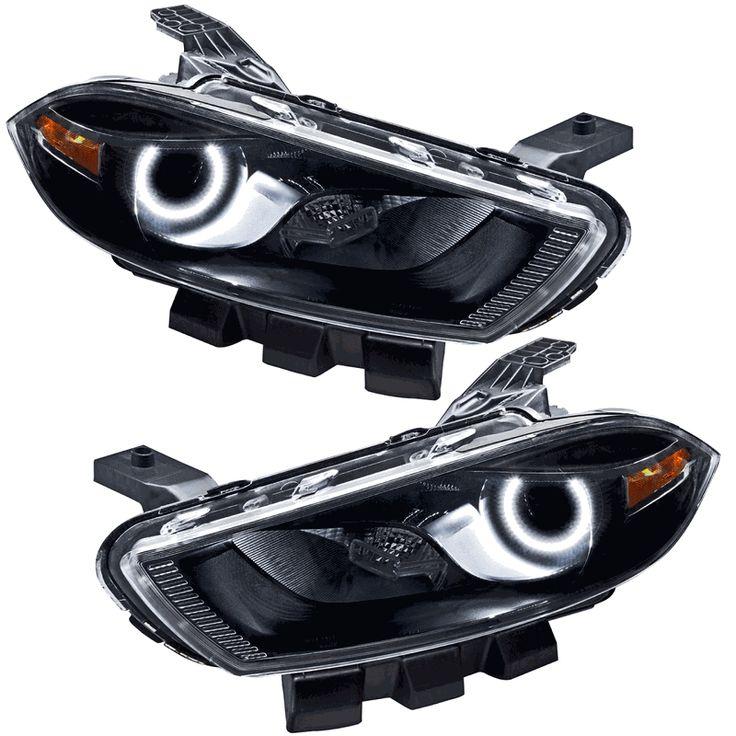 Oracle Halo Head Lights Complete Assemblies OEM Style for Dodge Dart - 2013-2015 Dodge Dart (Models w/ Factory HIDs only) Oracle Halo Headlights Complete Assemblies OEM Style BLACK (Pair)