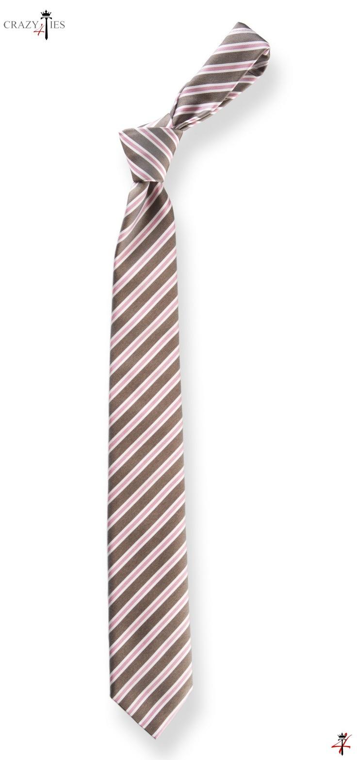 Cravatta New Regimental in Seta tinta in Filo Marrone a Righe Rosa e Bianche