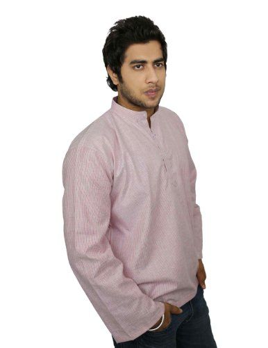 Ethnic Indian Costume Cotton Shirt Red Grey Stripped Short Kurta XL ShalinIndia,http://www.amazon.com/dp/B00IKC93P8/ref=cm_sw_r_pi_dp_vSeHtb1WRE93Q54W