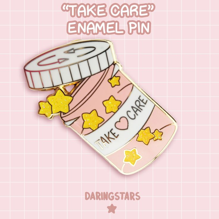 Take Care Pill Bottle Enamel Pin by DaringstarsStudios on Etsy