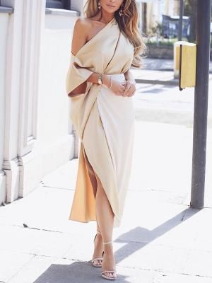 One Shoulder Wrap Side Slit Maxi Dress