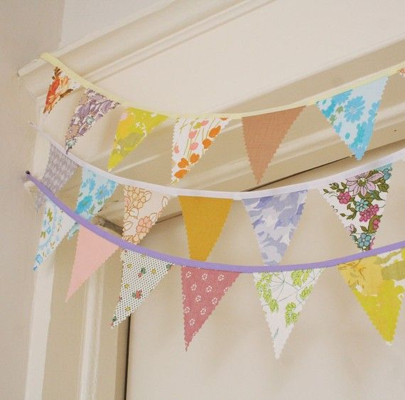 Fabric bunting...I have lots of scraps and could easily do this without sewing. What do we think??? For bridal shower