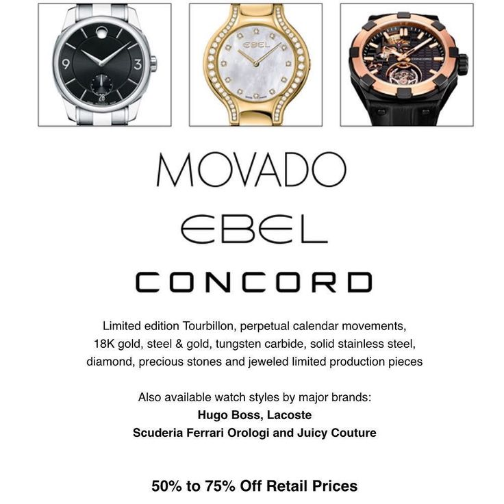 There is always a #samplesale to be found in #NYC and if you need a new #watch this is the sale for you!  Limited edition #Tourbillon perpetual calendar movements 18K gold steel & gold tungsten carbide solid stainless steel diamond precious stones and jeweled limited production pieces.  Also available watch styles by major brands: #HugoBoss #Lacoste #Scuderia #Ferrari #Orologi and #JuicyCouture #Movado #Ebel #Concord  50% to 75% Off Retail Prices Watch sizing available on site. Branded Gift…