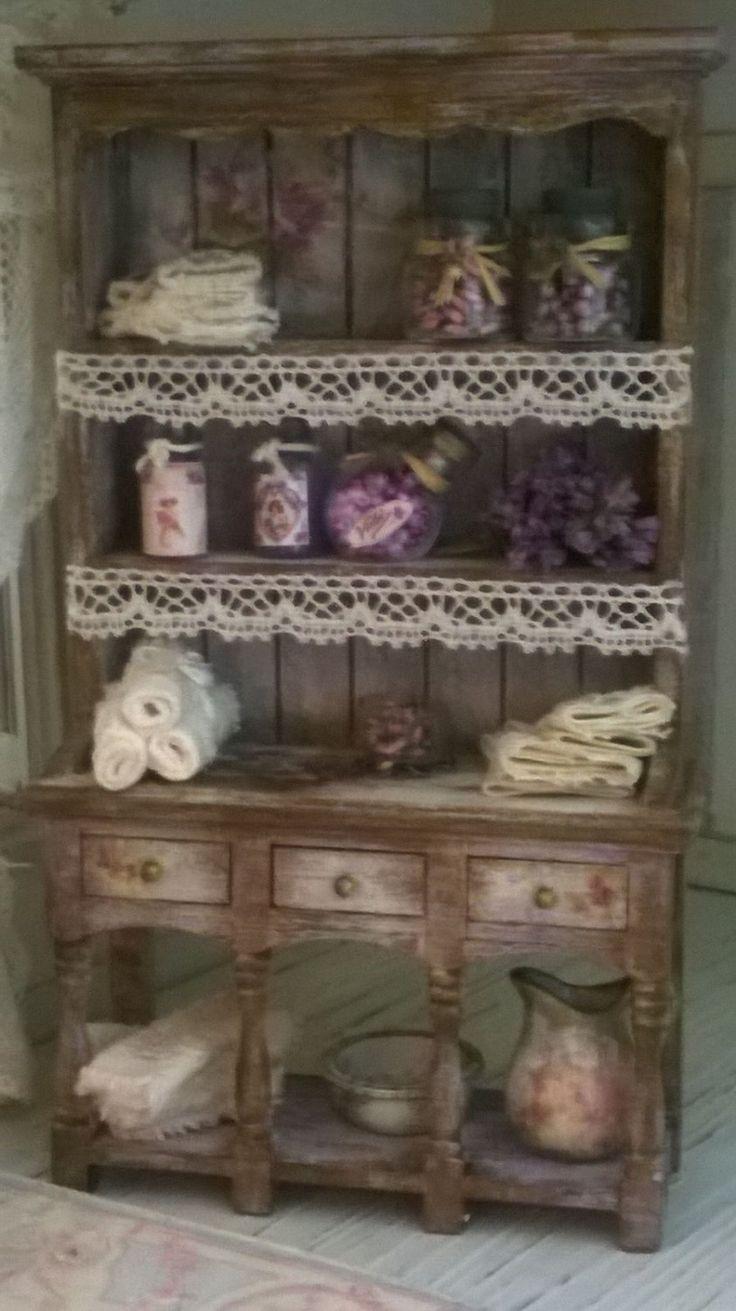 Miniature Dollhouse SHELF Shabby Chic Style - Scaffale stile Shabby Chic di…