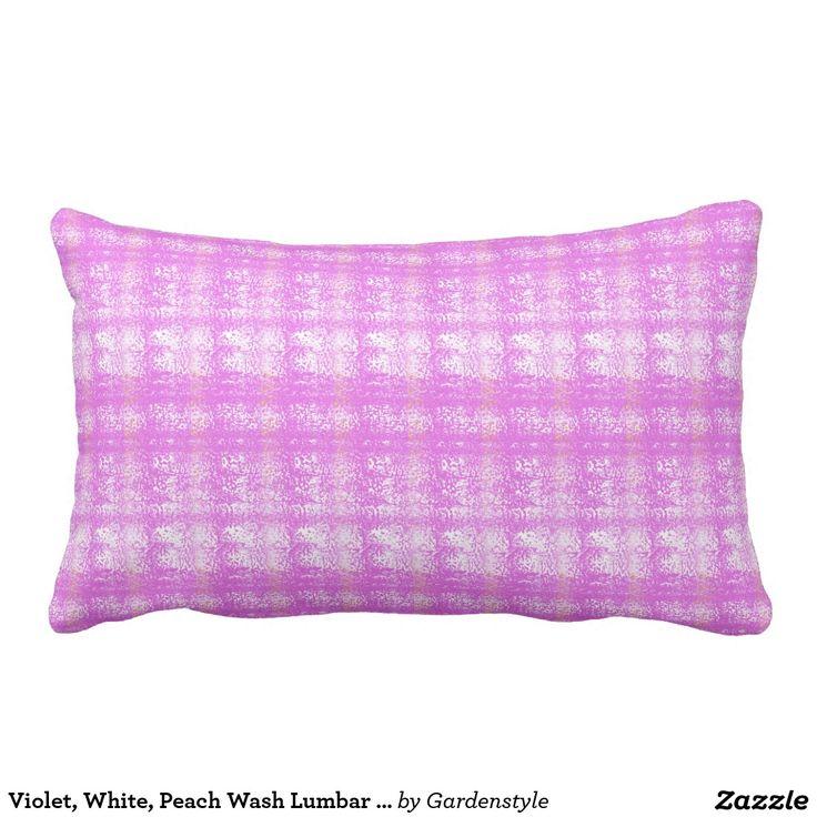 "Violet, White, Peach Wash Lumbar Pillow 13"" x 21"" Outdoor Fabric."