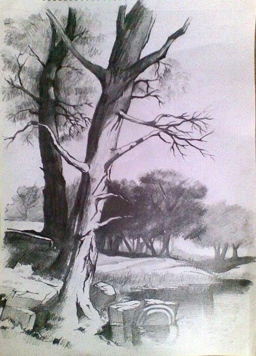 pencil drawings landscape drawing sketch victorian a3 paper
