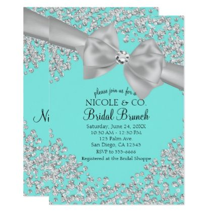 #wedding - #Tiffany Blue Big White Bow Diamonds Bridal Shower Card