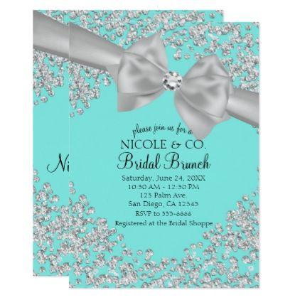 143007491e7  wedding -  Tiffany Blue Big White Bow Diamonds Bridal Shower Card