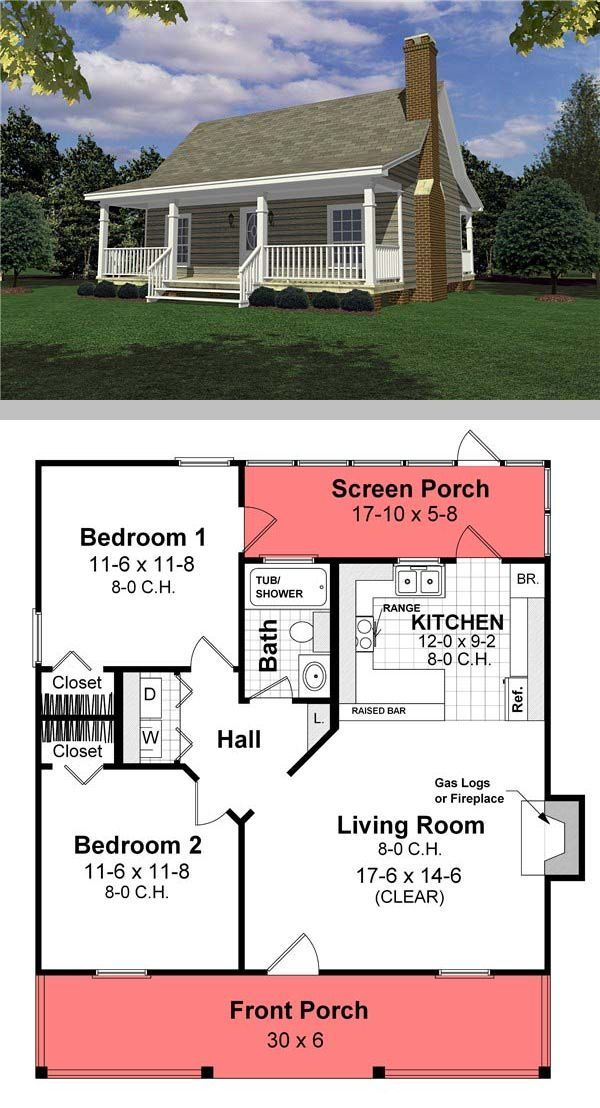 Small House Cool House Plan 26434 800sf 2 Bdrm 1 Bath Fireplace Screened Porch But Only Two Building A Small House Best House Plans Small House Plans