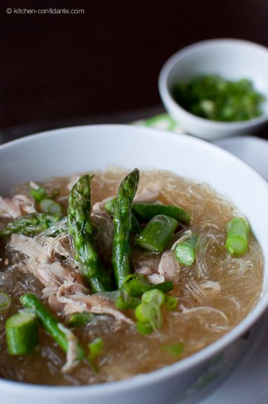 Chicken & Asparagus Sotanghon (Glass Noodle) Soup - need to make this soon... I miss it!