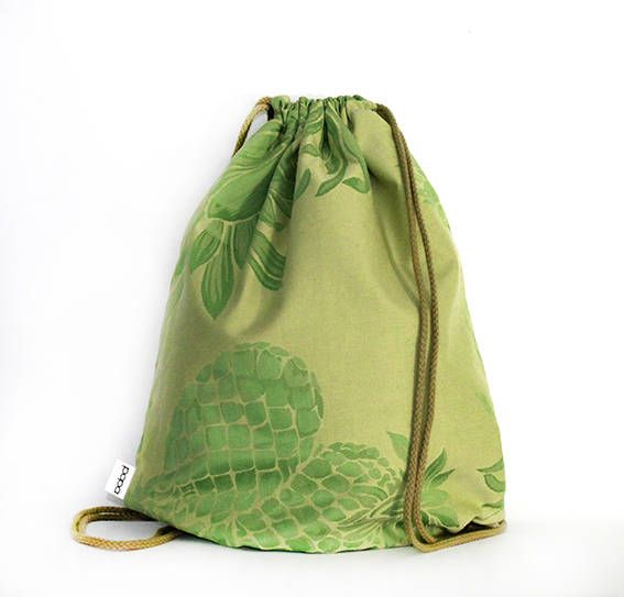 Pineapple green madness silk cotton drawstring bag backpack by PopaStore on Etsy