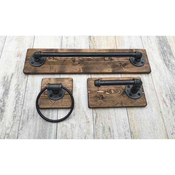 Industrial Modern Rustic Bathroom set of 3 Bath Towel Holder/Toilet... ❤ liked on Polyvore featuring home, bed & bath, bath, bath accessories, wooden toilet paper holder, wooden towel ring, wood toilet paper holder, wood bathroom accessories and pipe rack