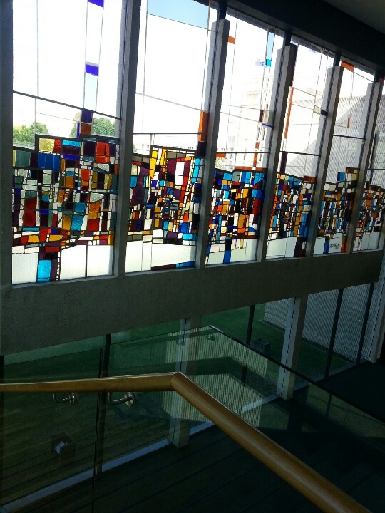The glass painted windows of art museum