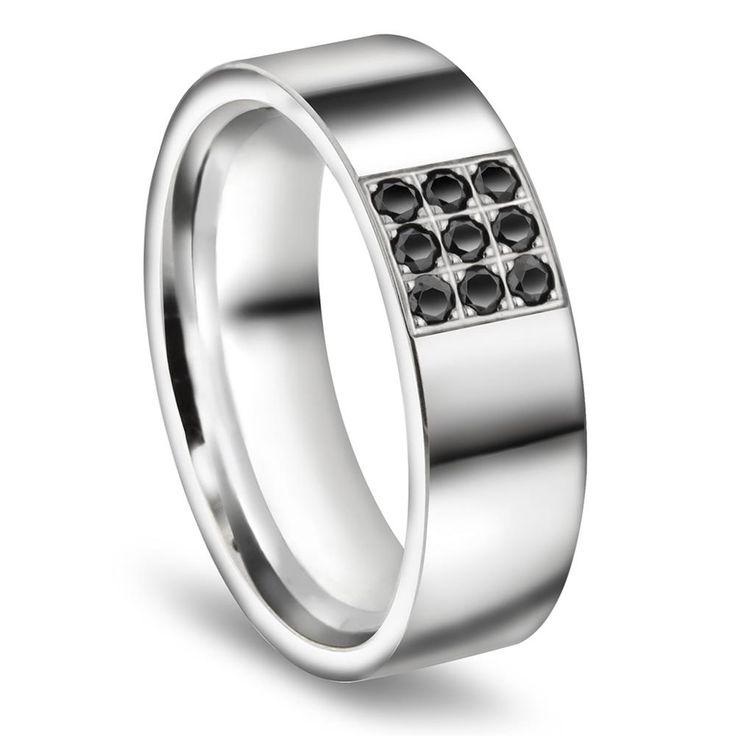 Giftering med diamant til mann 7mm glatt ring,  hvitt gull. med diamant
