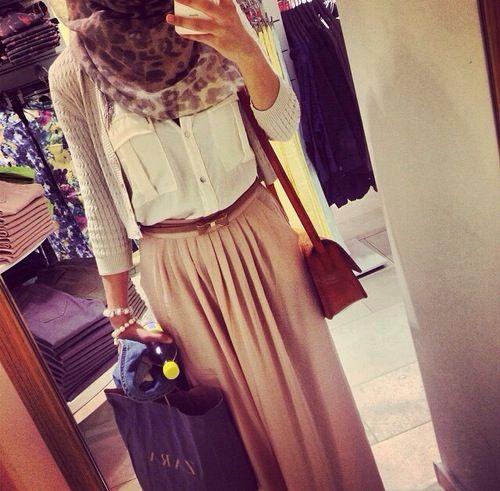 Style fashion long skirt Hijab brown