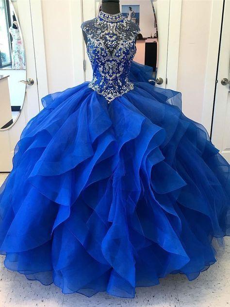 15dd8e53fa2 Royal Blue Ball Gown High Neck Rhinestone Beaded Long Evening Prom Dresses