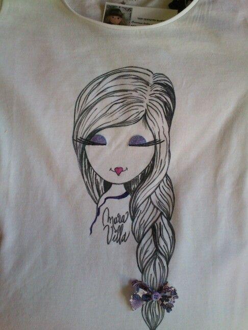 Camiseta MaraVilla.Lazo lila.