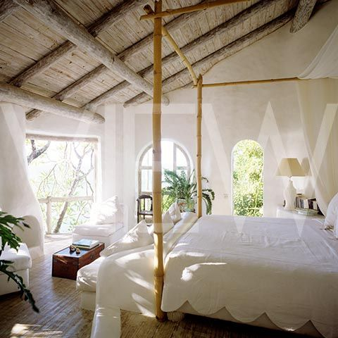 St. Lucia island style ~even just a simple canopy bed frame looks nice