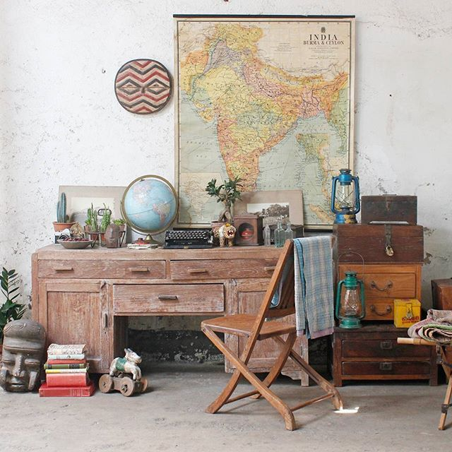 There's nothing better than different kinds of wood.in a room #chests #furniture #vintagefurniture #maps #style #interiors #decor #homedecor #metrotiles #decostyling #antiquefurniture  #trunks #traveltrunks #rusticmodern #rustic #vintage #vintagefurniture #interiorstyle #home #antiquefinds #storageideas #storage #vintagefurniture #vintagestore #interiorstyle #boxesonboxes #vintagemaps #statementwallart