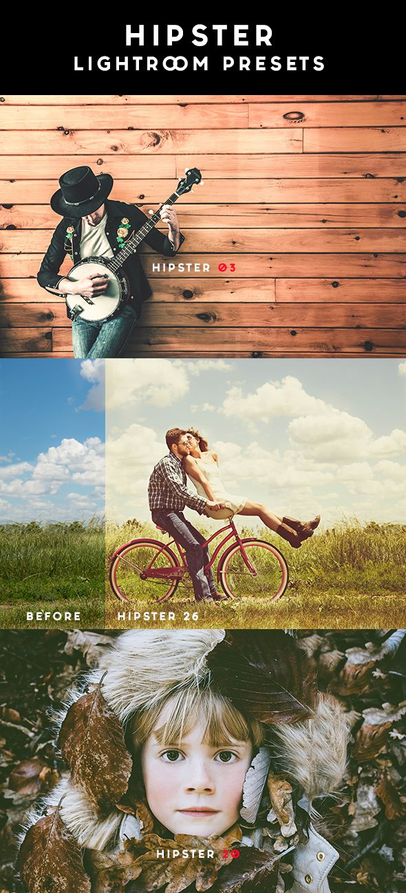 HIPSTER Lightroom Presets is the pack of professional Lightroom Presets perfect for new and old photographers and graphic designers. All they have been created with precise calibration adjustments and clean arrangement to bring your images to life using powerful tools & professional methods.