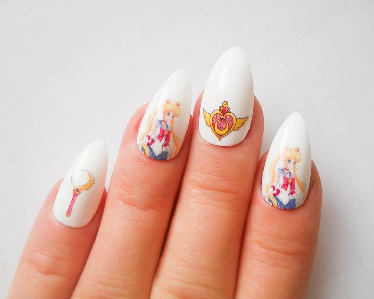 Sailor Moon Stiletto Nails, Fake Nails, Almond Nails, False Nails, Anime, Manga, Kawaii, Acrylic Nails, Press on, Nails by niceclaws on Etsy https://www.etsy.com/listing/210271272/sailor-moon-stiletto-nails-fake-nails