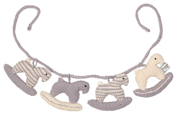 Rocking horse crochet pram rattle string