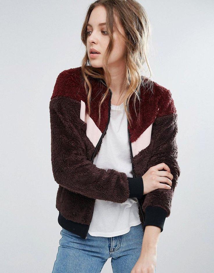 First & I Varsity Style Teddy Fur Bomber - Red