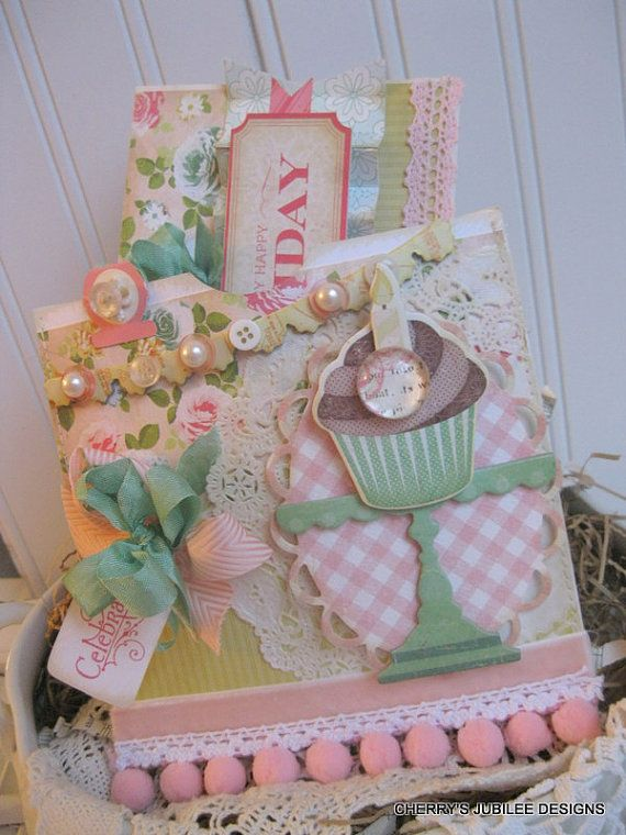 shabby chic Birthday cheer embellished pocket envelope and matching card decoration gift set