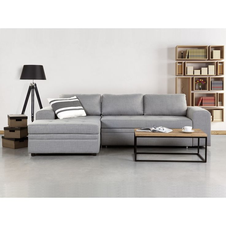 Beliani Kiruna Grey Upholstered Sleeper Sectional Sofa with Storage  sc 1 st  Pinterest : grey sleeper sectional - Sectionals, Sofas & Couches