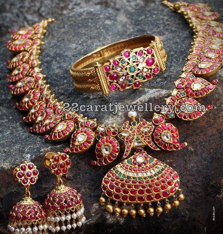 Adorable Mango Mala  and jhumkas with Burmese rubies from Mehta jewellers