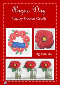 Make poppies for ANZAC to display in vases, on a wreath or as a brooch. Full instructions provided.