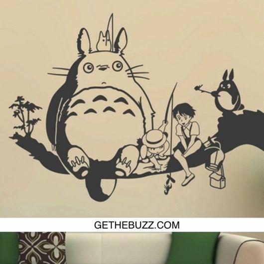Creative New DIY Wall Art Miyazaki Totoro With Friends Wall Stickers