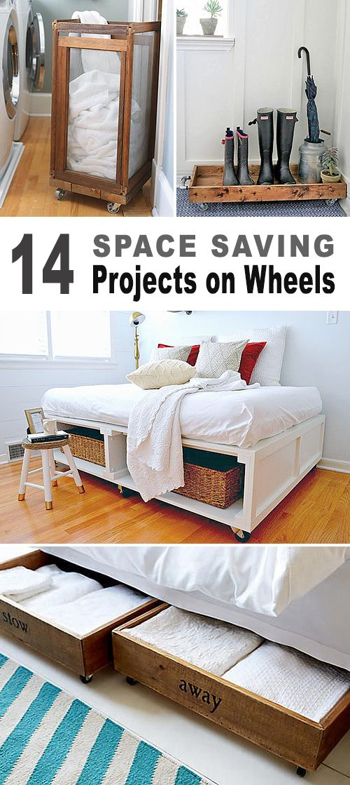 14 Space Saving Projects on Wheels! • Lots of DIY projects with tutorials • boot tray, kitchen island, rolling storage crates, laundry basket and more • all on wheels!