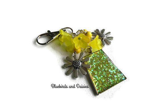 Sunny Yellow Sparkly Bag Charm by Bluebirdsanddaisies on Etsy