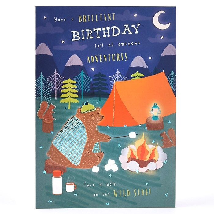Buy Birthday Card Camping Bear For Gbp 1 29 Cool Birthday Cards Birthday Cards Cute Birthday Cards