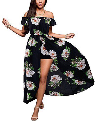 Women's Romper Dress Off Shoulder Floral Rayon Party Split Maxi Romper Dress S-3XL