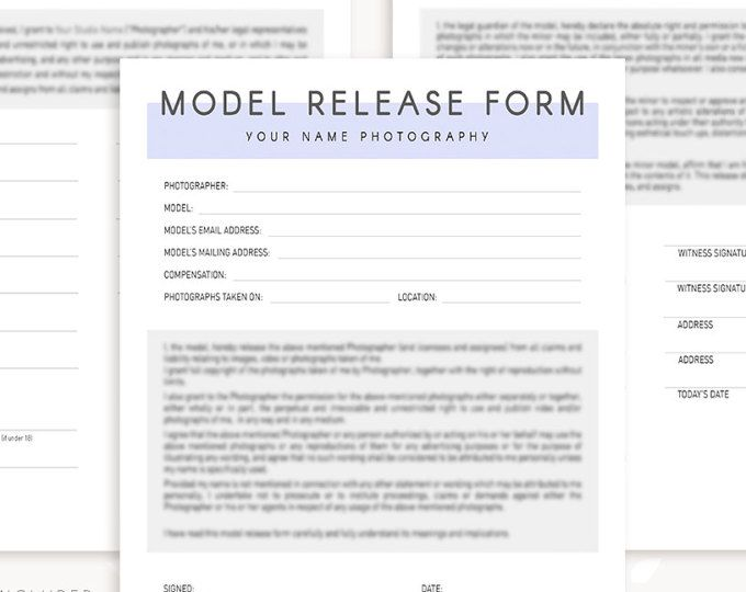 Model Release Form, Photography Forms, Model Release Forms For Photographer, Photography Contract, Templates for Photographers, minor model
