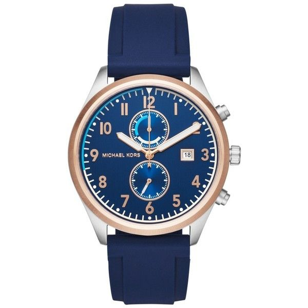 Michael Kors Saunder Silicone Strap Watch, 43Mm featuring polyvore women's fashion jewelry watches silicone strap watches michael kors jewelry michael kors watches michael kors
