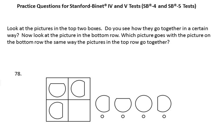 Sample Patrice question for the Stanford-Binet® - 5 test, level Pre-K through Kindergarten . The Stanford-Binet® - 5 test is an IQ test.